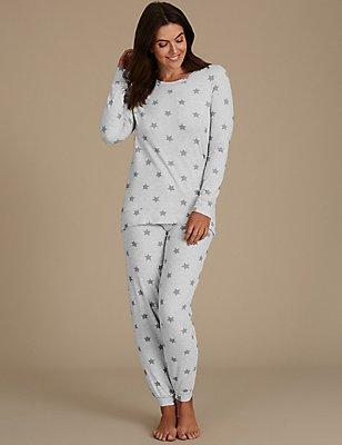 Langarm-Schlafanzug mit hohem Baumwollanteil und Sternenmotiv, GRAU MELANGE, catlanding