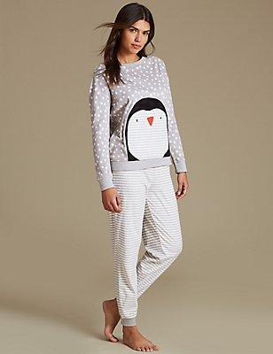 Fleece-Langarm-Schlafanzug mit Pinguinmuster, GRAU MELANGE, catlanding