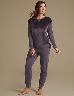 Cotton Rich Long Sleeve Pyjamas, PURPLE MIX, catlanding