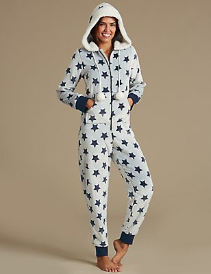 Fleece Star Print Onesie, BLUE MIX, catlanding