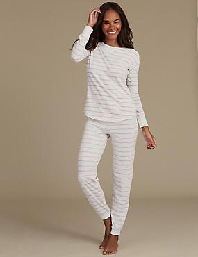 Cotton Rich Striped Long Sleeve Pyjamas, OATMEAL MIX, catlanding