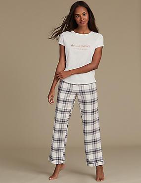 Printed Short Sleeve Pyjamas, OATMEAL MIX, catlanding