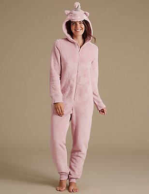 Fleece Unicorn Onesie, PINK MIX, catlanding