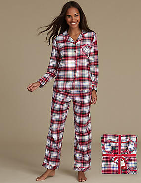 Pure Cotton Checked Long Sleeve Pyjamas, RED MIX, catlanding