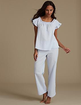 Pure Cotton Textured Short Sleeve Pyjamas, CHAMBRAY, catlanding
