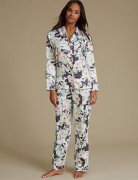 Satin Floral Print Pyjamas, CHARCOAL MIX, catlanding