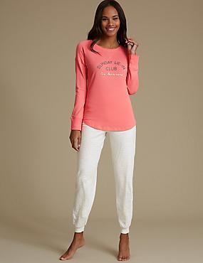 Cotton Rich Printed Pyjamas, CORAL, catlanding