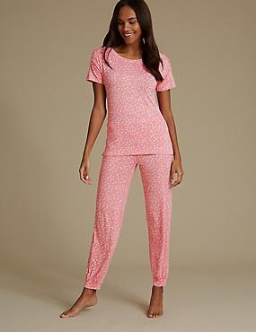 Star Print Glitter Short Sleeve Pyjama Set, CORAL MIX, catlanding