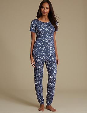 Star Print Glitter Short Sleeve Pyjama Set, NAVY MIX, catlanding