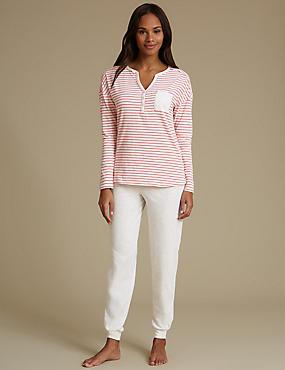 Striped Long Sleeve Pyjama Set, CRIMSON, catlanding