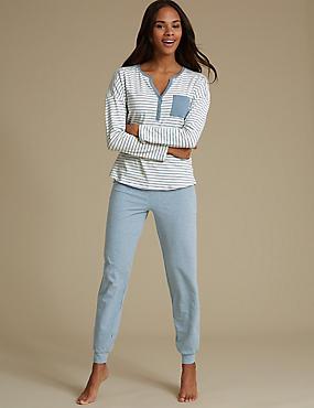 Striped Long Sleeve Pyjama Set, DENIM MIX, catlanding