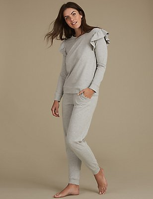 Cotton Rich Ruffle Sleeve Pyjamas, GREY MIX, catlanding
