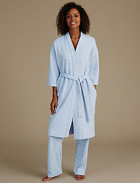 Pure Cotton Printed Waffle Dressing Gown, BLUE MIX, catlanding