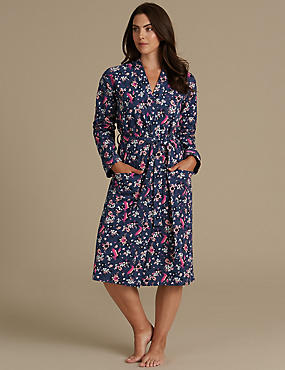 Pure Cotton Printed Dressing Gown, NAVY MIX, catlanding