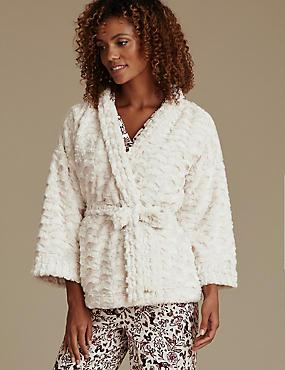Faux Fur Kimono Dressing Gown, CREAM, catlanding