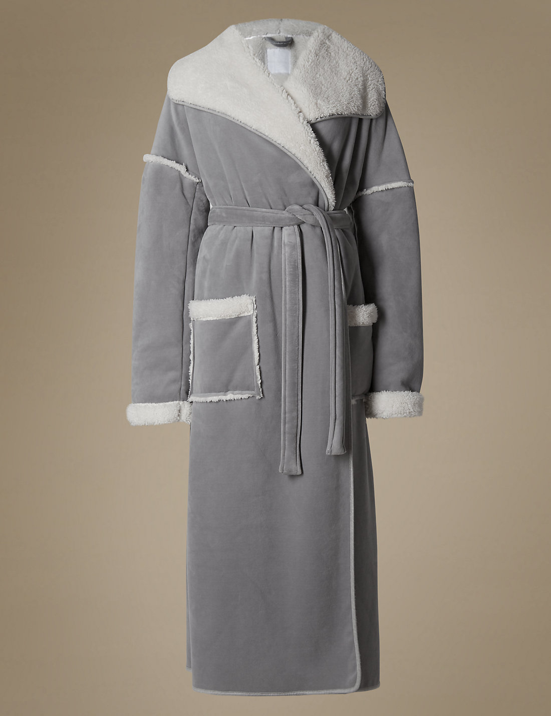 Long Sleeve Borg Dressing Gown