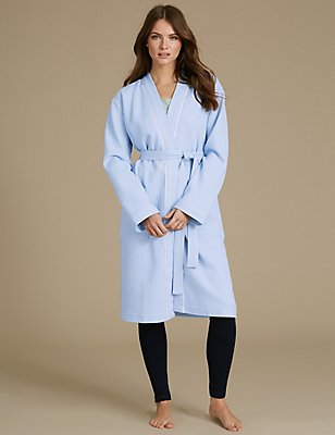 Pure Cotton Waffle Dressing Gown, BLUE, catlanding