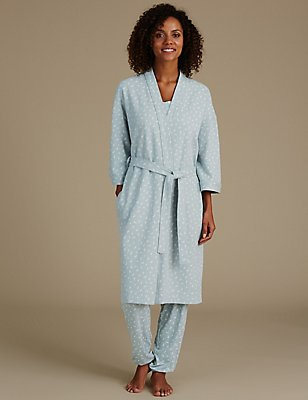 Pure Cotton Leaf Print Waffle Dressing Gown, AQUA MIX, catlanding