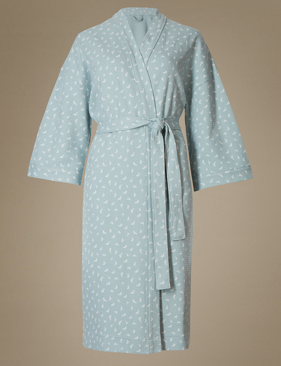 Pure Cotton Leaf Print Waffle Dressing Gown | M