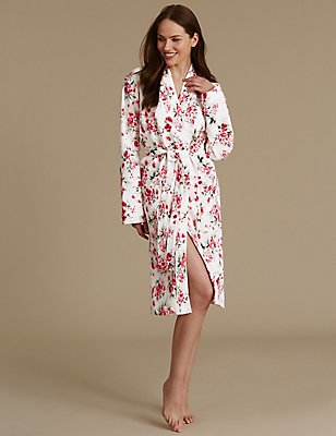 Pure Cotton Floral Print Waffle Dressing Gown, WHITE MIX, catlanding