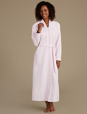 Quilted Zip Through Dressing Gown, PINK, catlanding