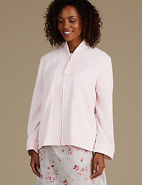 Quilted Zip Through Bed Jacket, PINK, catlanding