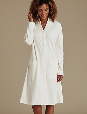 Velour Long Sleeve Dressing Gown, CREAM, catlanding