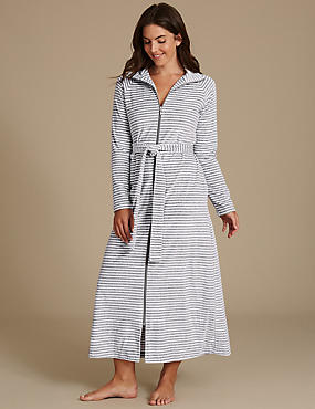 Cotton Rich Striped Dressing Gown, GREY MIX, catlanding