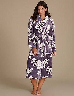 Floral Print Shimmer Dressing Gown, GREY MIX, catlanding