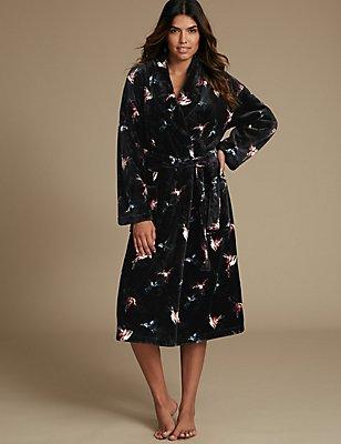 Printed Shimmer Dressing Gown, BLACK MIX, catlanding