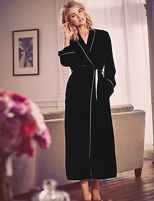 Long Sleeve Silk Velour Dressing Gown, BLACK, catlanding