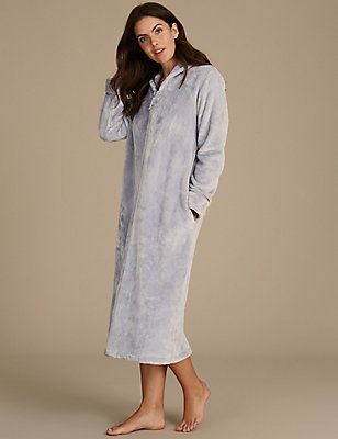 Shimmersoft™ Zip Through Dressing Gown, SILVER, catlanding