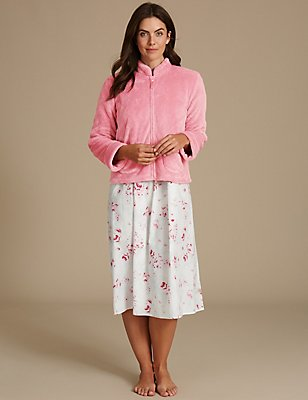 Shimmer Long Sleeve Bed Jacket, PINK, catlanding