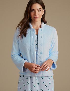 Fleece Carved Button Long Sleeve Bed Jacket, LIGHT BLUE, catlanding