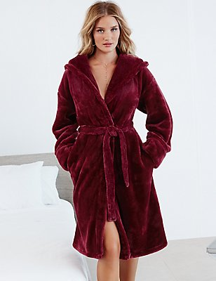 Tie Front Shimmer Dressing Gown, BERRY, catlanding