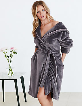 Tie Front Shimmer Dressing Gown, MID GREY, catlanding