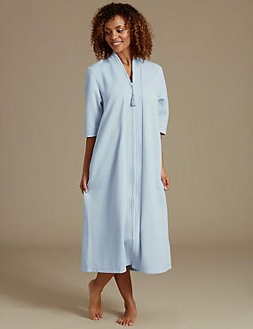Quilted Zip Through Dressing Gown, BLUE, catlanding
