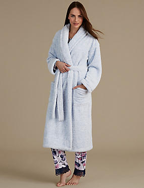 Belted Long Dressing Gown, BLUE, catlanding