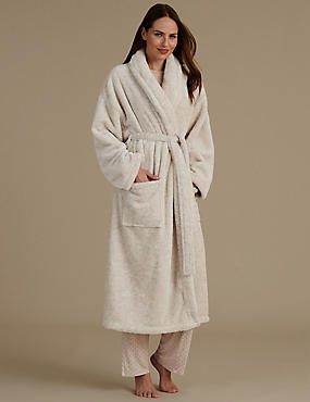Belted Long Dressing Gown, OATMEAL, catlanding