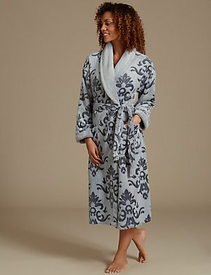 Carved Print Shimmer Dressing Gown, GREY MIX, catlanding