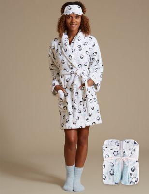 Комплект: халат с принтом, носки и маска для сна M&S Collection T372178G