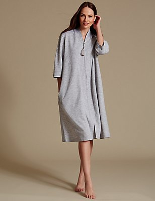 Quilted Zip Through Dressing Gown, GREY MARL, catlanding