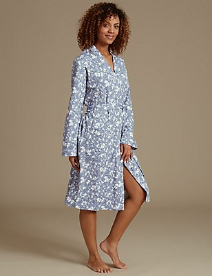 Pure Cotton Floral Print Waffle Dressing Gown, BLUE MIX, catlanding