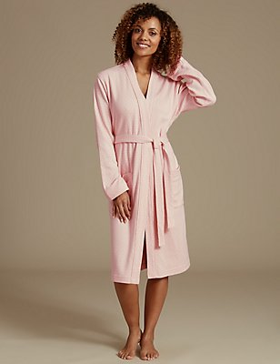 Pure Cotton Pin Spotted Print Dressing Gown, , catlanding