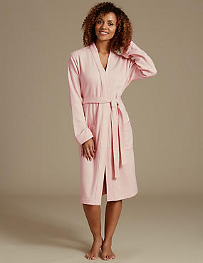 Pure Cotton Pin Spotted Print Dressing Gown, PINK MIX, catlanding