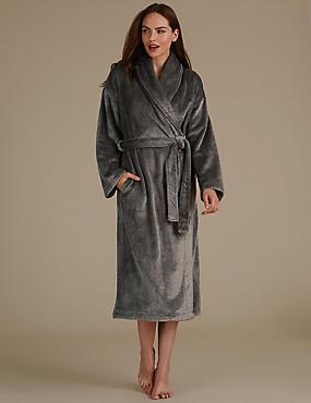 Glitter Fleece Dressing Gown, CREAM MIX, catlanding