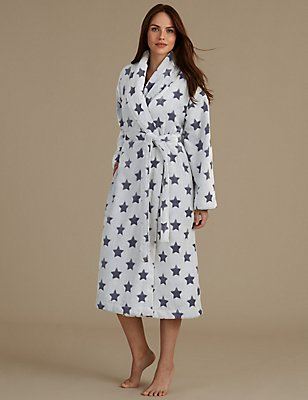 Star Print Dressing Gown, BLUE MIX, catlanding