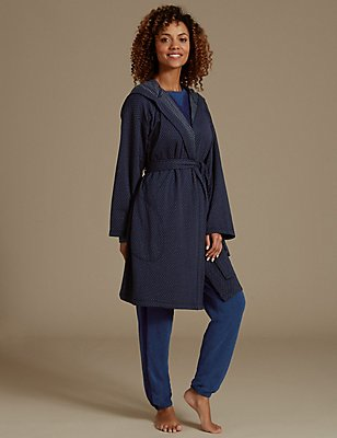 Jersey Double Sided Hooded Dressing Gown, NAVY MIX, catlanding