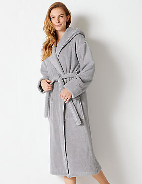 Pure Cotton Towelling Dressing Gown, GREY MIX, catlanding