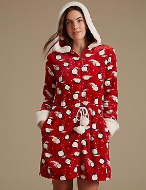 Fleece Penguin Print Dressing Gown, RED MIX, catlanding